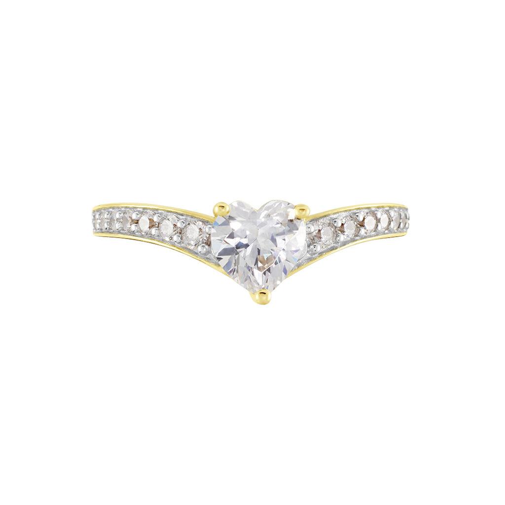 Damenring Gold 375 Zirkonia Herz - Ringe mit Stein Damen   Oro Vivo