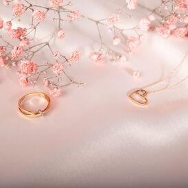 Damen Halskette Gold 375 Rosé Vergoldet Diamanten - Herzketten Damen   Oro Vivo