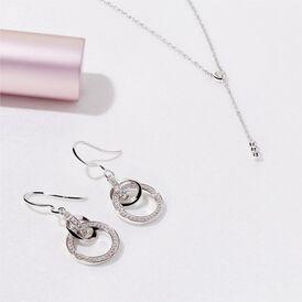Damen Ohrhänger Lang Silber 925 Zirkonia Kreis - Ohrhänger Damen | Oro Vivo