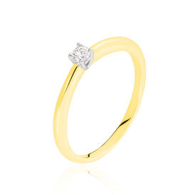Solitärring Gold 585 Bicolor Diamant 0,1ct - Ringe mit Edelsteinen Damen | Oro Vivo