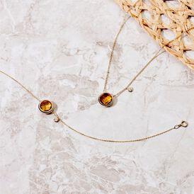 Damen Halskette Gold 375 Zirkonia Citrin - Ketten mit Anhänger Damen | Oro Vivo
