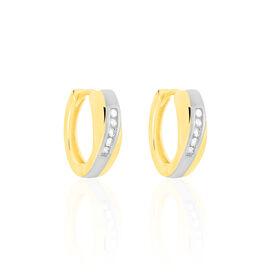 Damen Creolen Gold 333 Bicolor Diamant 0,1ct  - Black Friday Damen | Oro Vivo