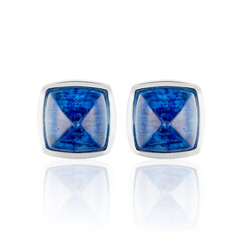 Damen Ohrstecker Silber 925 Blaues Glas Pyramid - Black Friday Damen | Oro Vivo