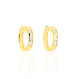 Damen Creolen Gold 375 Diamanten 0,04ct 13mm - Creolen Damen | Oro Vivo