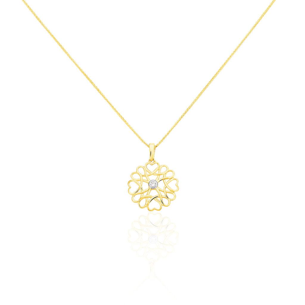 Damen Halskette Gold 375 Diamant 0,02ct - Herzketten Damen | Oro Vivo