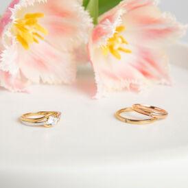Damenring Roségold 375 Diamant 0,007ct - Eheringe Damen | Oro Vivo