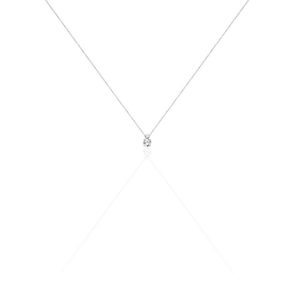 Damen Halskette Weißgold 375 Zirkonia - Ketten mit Anhänger Damen   Oro Vivo