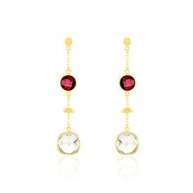 Damen Ohrstecker Lang Gold 375 Quarz Rhodolith - Ohrstecker lang Damen | Oro Vivo