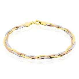 Damenarmband Zopfkette Silber 925 Tricolor  - Armketten Damen | Oro Vivo
