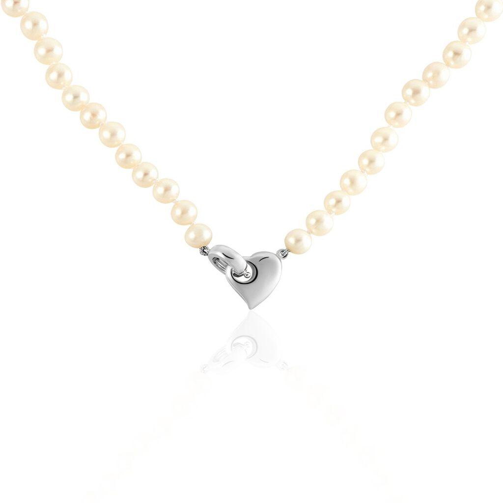 Damen Collier Silber 925 Zuchtperlen 6-7mm - Herzketten Damen | Oro Vivo