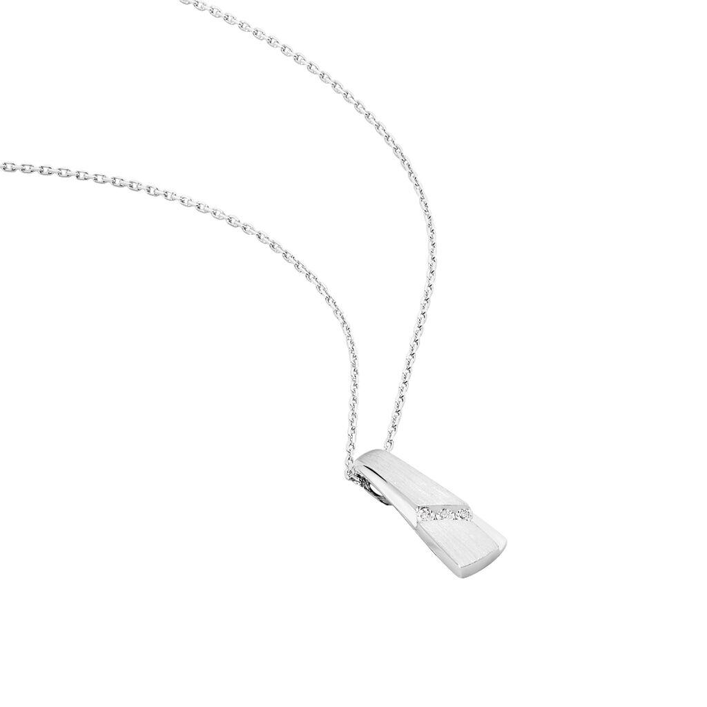 Damen Halskette Weißgold 375 Diamanten 0,0123ct - Ketten mit Anhänger Damen   Oro Vivo