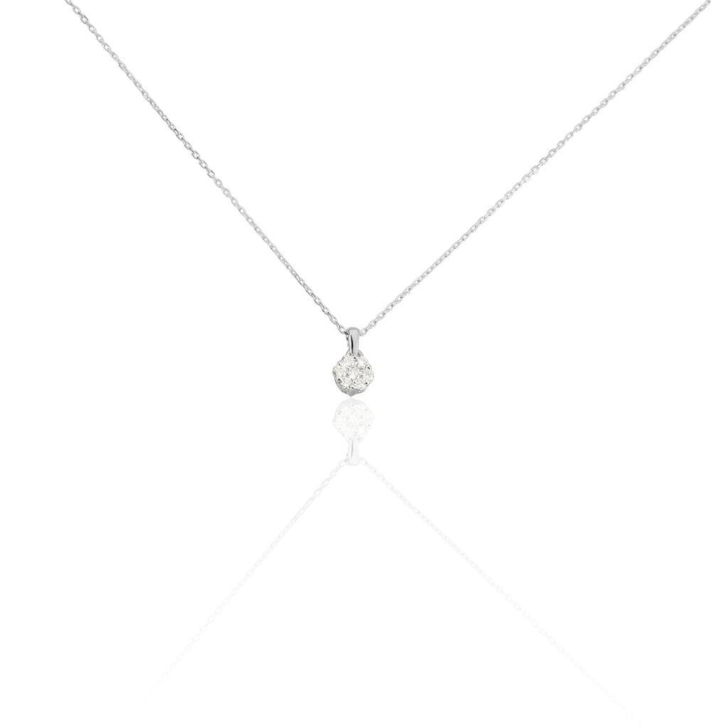 Damen Halskette Weißgold 375 Diamanten 0,016ct - Ketten mit Anhänger Damen | Oro Vivo