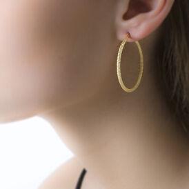 Damen Creolen Gold 375 Diamantiert 30mm - Creolen Damen | Oro Vivo