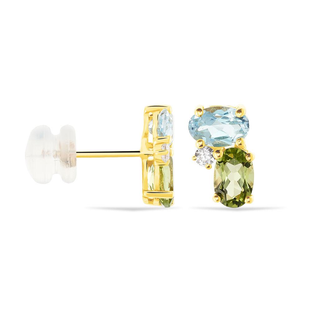 Damen Ohrstecker Gold 375 Peridot Zirkonia Topas - Ohrstecker Damen   Oro Vivo
