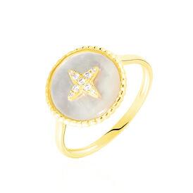 Damenring Gold 375 Zirkonia Perlmutt Stern - Ringe mit Stein Damen   Oro Vivo