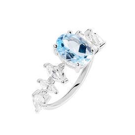 Damenring Weißgold 375 Blautopas Diamanten - Ringe mit Stein Damen   Oro Vivo