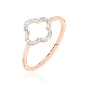 Damenring Roségold 375 Diamanten 0,07ct Blume - Ringe mit Edelsteinen Damen   Oro Vivo
