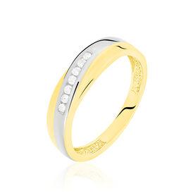 Damen Ehering Gold 333 Bicolor Diamant 0,07ct - Eheringe Damen   Oro Vivo