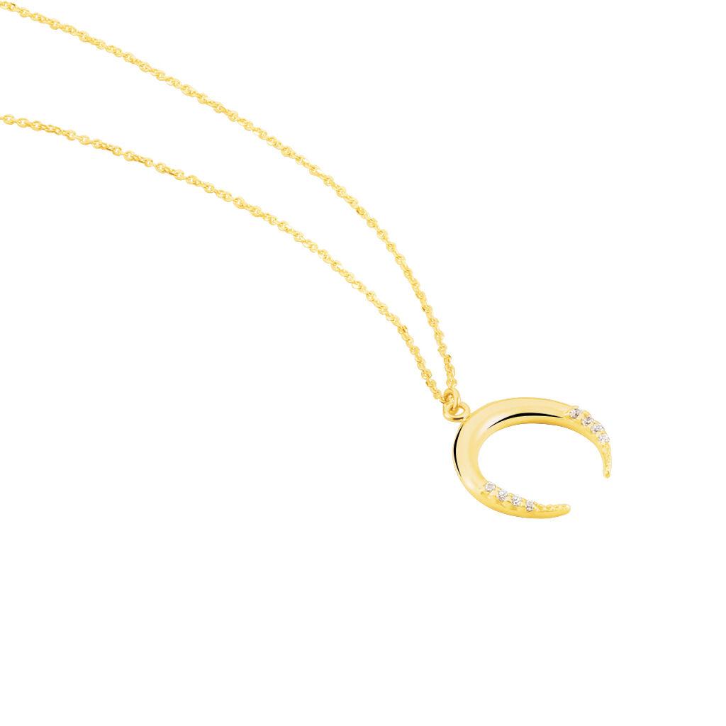 Damen Halskette Gold 375 Zirkonia Halbmond - Ketten mit Anhänger Damen   Oro Vivo
