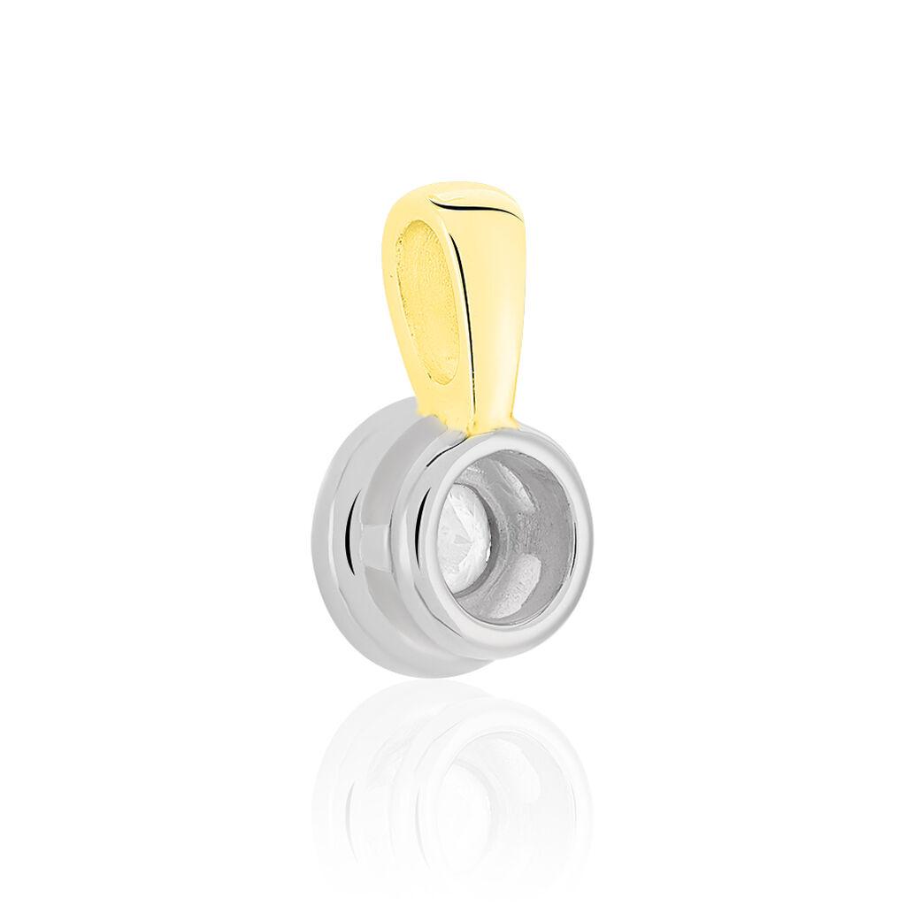Anhänger Gold 585 Bicolor Diamant 0,2ct Solitär - Schmuckanhänger Damen | Oro Vivo