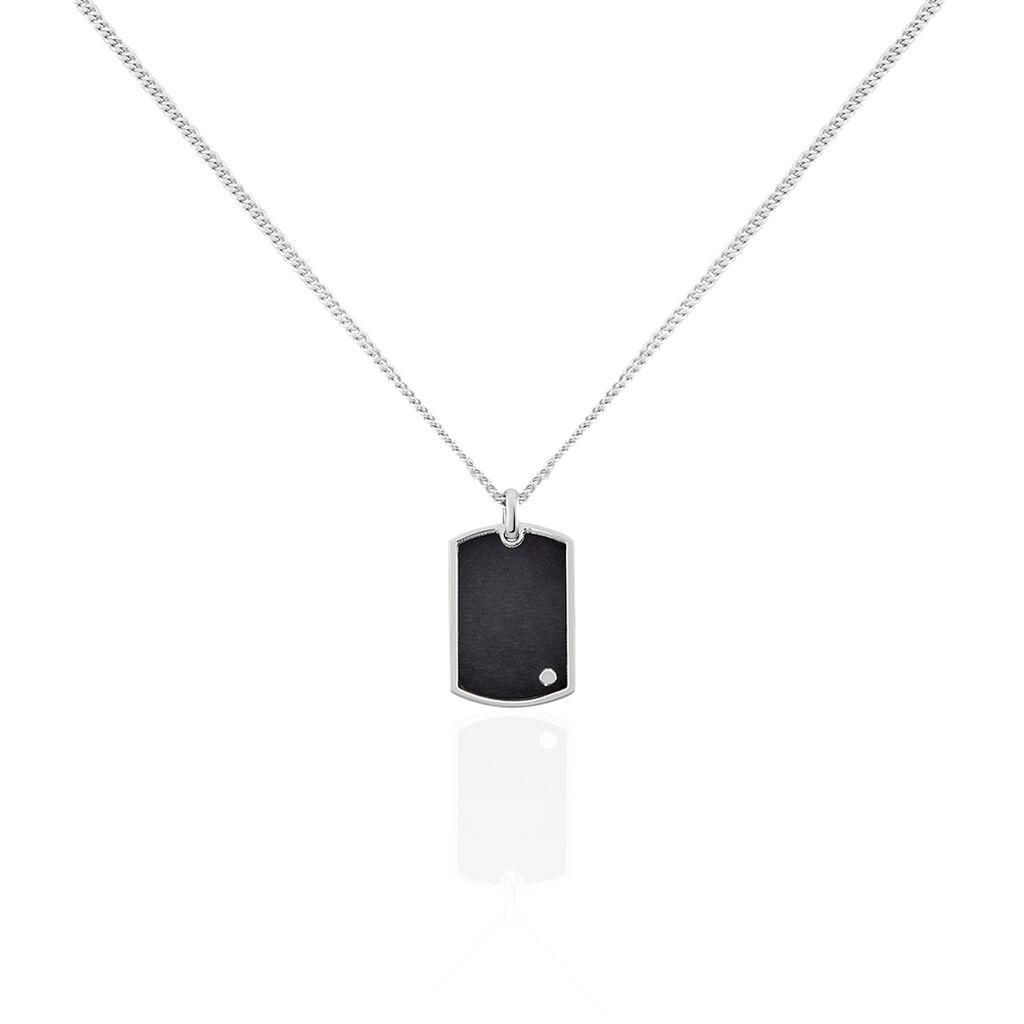 Herren Halskette Silber 925 Schwarz Dog Tag - Ketten mit Anhänger Herren | Oro Vivo