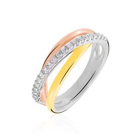 Damenring Silber 925 Tricolor Vergoldet Zirkonia - Kategorie Damen | Oro Vivo