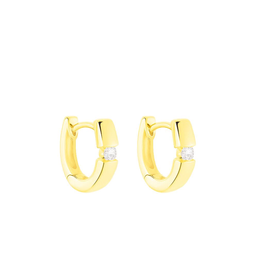 Damen Creolen Gold 375 Diamant 0,1ct  - Creolen Damen   Oro Vivo