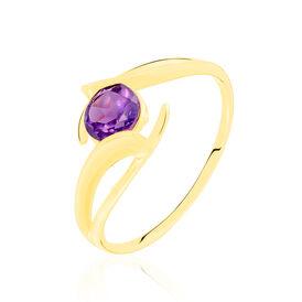 Damenring Gold 375 Amethyst Diamantiert - Ringe mit Stein  | Oro Vivo