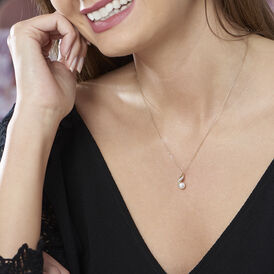 Damen Halskette Gold 375 Zuchtperle Zirkonia - Black Friday Damen   Oro Vivo