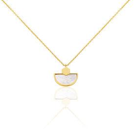 Damen Halskette Silber 925 Vergoldet Perlmutt - Ketten mit Anhänger Damen | Oro Vivo
