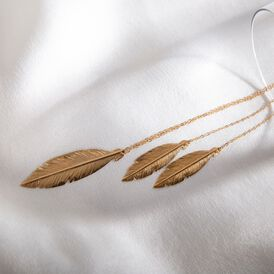 Damen Halskette Gold 375 Feder - Ketten mit Anhänger Damen | Oro Vivo