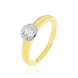 Solitärring Gold 585 Bicolor Diamant 0,2ct - Personalisierte Geschenke Damen   Oro Vivo