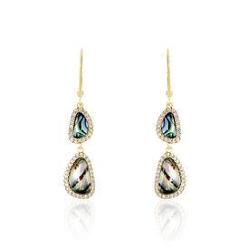 Damen Ohrhänger Lang Silber 925 Vergoldet Perlmutt - Black Friday Damen | Oro Vivo