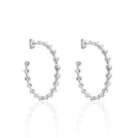 Damen Steckcreolen Silber 925 Glassstein - Creolen Damen   Oro Vivo