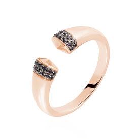 Damenring Roségold 375 Schwarzer Zirkonia - Ringe mit Stein Damen | Oro Vivo