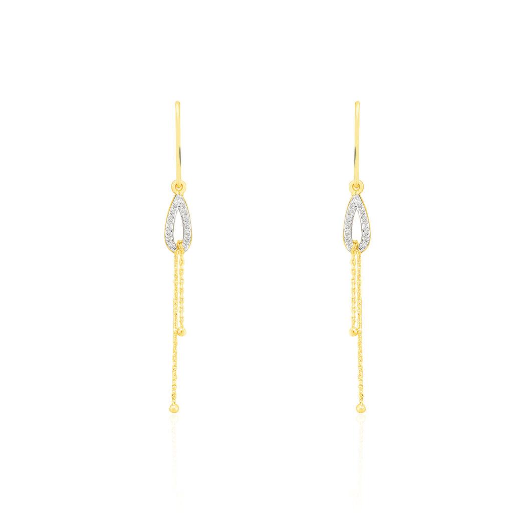 Damen Ohrhänger Lang Gold 375 Diamanten 0,098ct  - Ohrhänger Damen   Oro Vivo
