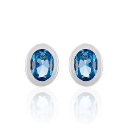 Damen Ohrstecker Silber 925 Blauer Stein  - Ohrstecker Damen   Oro Vivo