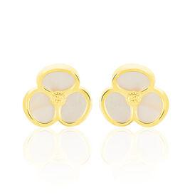 Damen Ohrstecker Gold 375 Perlmutt Blume - Ohrstecker Damen   Oro Vivo