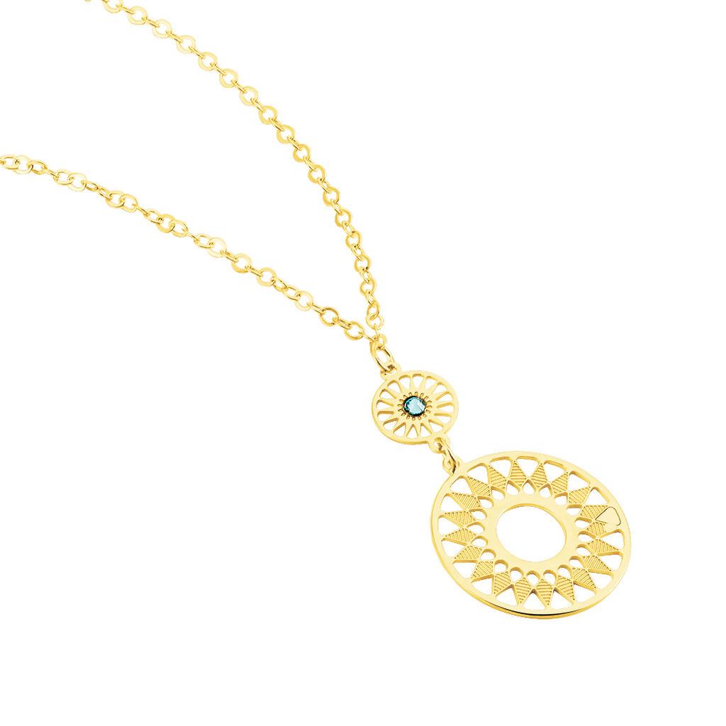 Damen Halskette 375 Türkiser Zirkonia  - Ketten mit Anhänger Damen   Oro Vivo