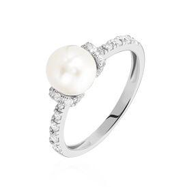 Damenring Silber 925 Zuchtperle Zirkonia - Ringe mit Stein Damen | Oro Vivo