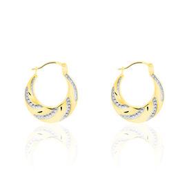 Damen Creolen Gold 585 Bicolor Facettiert - Creolen Damen   Oro Vivo