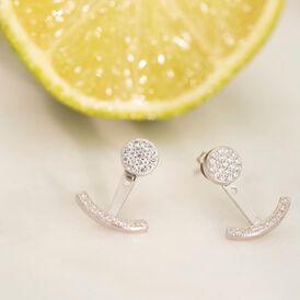 Damen Ear Jacket Silber 925 Zirkonia  - Ohrringe    Oro Vivo