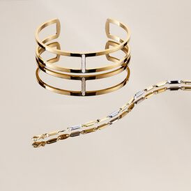 Damen Armreif Edelstahl Vergoldet Kristall - Armreifen Damen | Oro Vivo