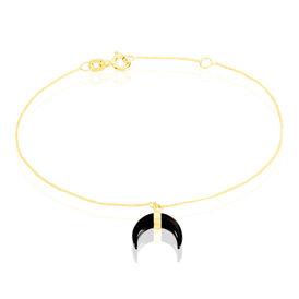 Damenarmband Gold 375 Schwarzer Onyx Halb Mond  - Armbänder Damen | Oro Vivo