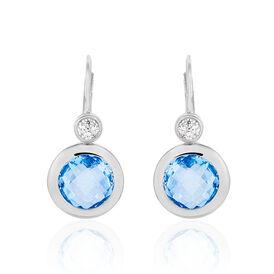 Damen Ohrhänger Lang Silber 925 Zirkonia Blau - Black Friday Damen   Oro Vivo