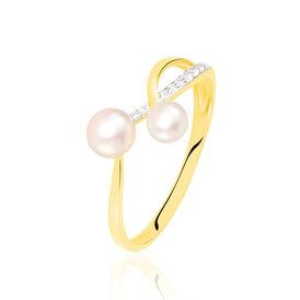Damenring Gold 375 Zuchtperle Zirkonia  - Ringe mit Stein  | Oro Vivo