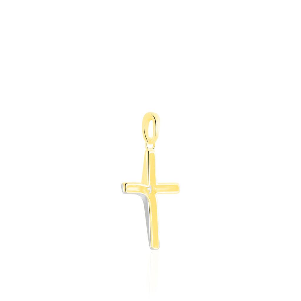 Anhänger Gold 375 Bicolor Zirkonia Kreuz - Kreuzanhänger Damen   Oro Vivo
