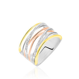 Damenring Gold 750 Tricolor Diamanten 0,13ct - Ringe mit Edelsteinen Damen | Oro Vivo