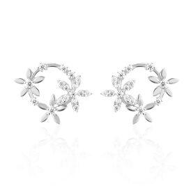Damen Ohrstecker Silber 925 Zirkonia Blume Kreis - Ohrstecker Damen | Oro Vivo
