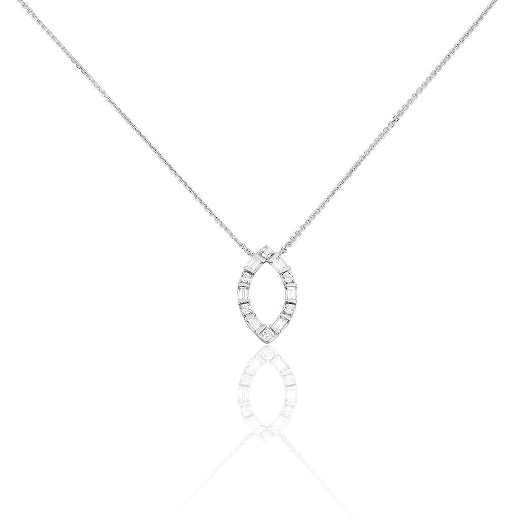 Damen Halskette Weißgold 750 Diamanten 0,12ct - Ketten mit Anhänger Damen   Oro Vivo